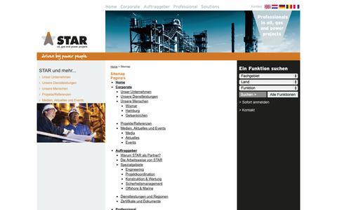 Screenshot of Site Map Page starpowerpeople.de - Sitemap - STAR power people - captured Oct. 3, 2014