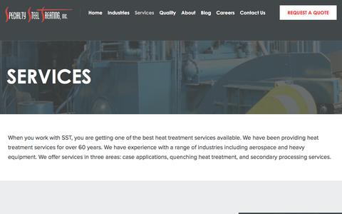 Screenshot of Services Page sst.net - Heat Treating Services - Vacuum Heat Treatment - Quenching Heat Treatment - captured Nov. 4, 2017