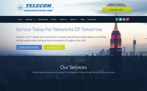 Screenshot of Home Page telecom-wiring.com - Cabling Company New York   Telecom Infrastructure Corp - captured March 2, 2016