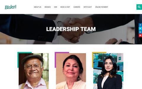 Screenshot of Team Page bisleri.com - Leadership Team | Bisleri International - captured Oct. 6, 2018