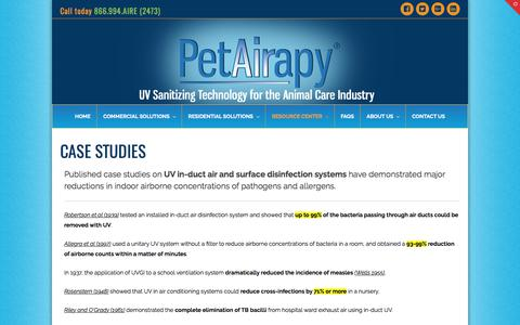 Screenshot of Case Studies Page petairapy.com - Case Studies on UV In-Duct Air and Surface Disinfection Systems - captured July 25, 2017