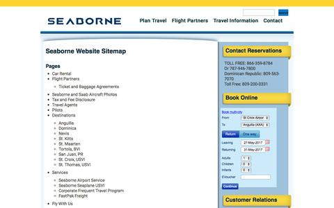 Screenshot of Site Map Page seaborneairlines.com - Seaborne Website Sitemap | Seaborne Airlines : Flights Throughout The Caribbean - captured May 28, 2017