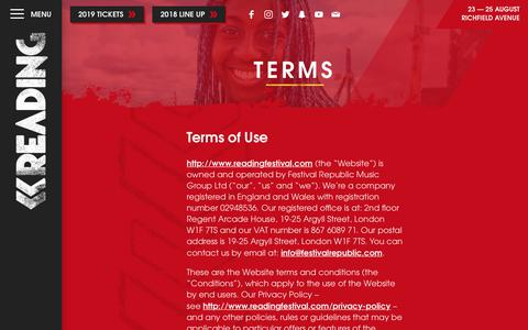 Screenshot of Terms Page readingfestival.com - Reading Festival | Terms - captured Sept. 23, 2018