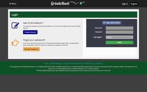 Screenshot of Login Page grindabuck.com - Grindabuck - Free Gift Cards for completing offers - Login - captured April 5, 2016