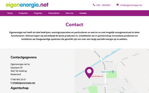 Screenshot of Contact Page eigenenergie.net - Contact opnemen met EigenEnergie.net - captured Nov. 10, 2018