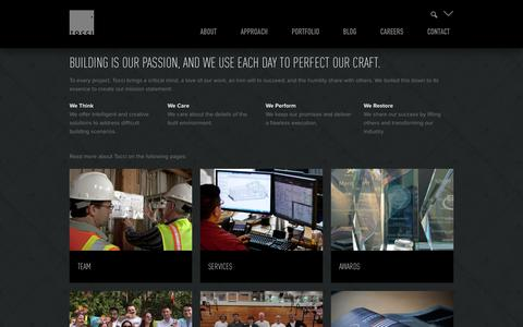 Screenshot of About Page tocci.com - About - Tocci Building Companies - captured Oct. 1, 2014