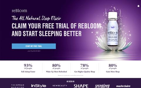 Screenshot of Trial Page rebloom.com - free-trial2 – reBloom - Better Quality Sleep for a Better Tomorrow! - captured Aug. 28, 2016