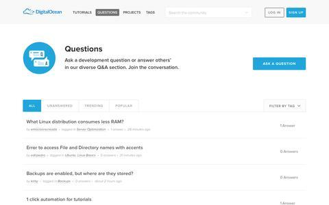 Screenshot of FAQ Page digitalocean.com - Questions & Answers | DigitalOcean - captured Sept. 15, 2014