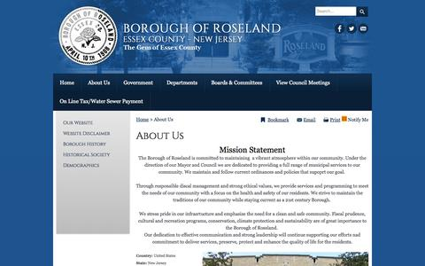 Screenshot of About Page roselandnj.org - About Us - captured Oct. 5, 2014