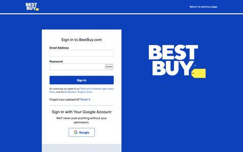 Screenshot of Login Page bestbuy.com - Sign In to BestBuy.com - captured May 10, 2019