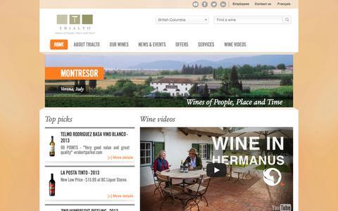 Screenshot of Home Page trialto.com - Home - Trialto - captured Oct. 7, 2014