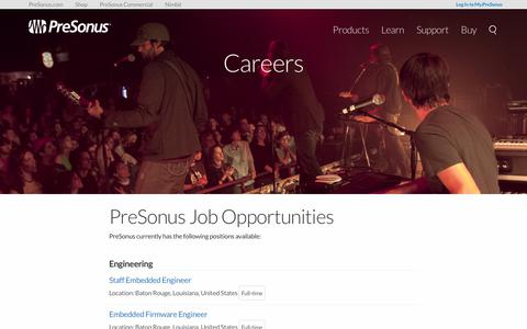 Screenshot of Jobs Page presonus.com - Careers   PreSonus - captured June 28, 2017
