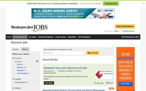 Screenshot of Jobs Page washingtonpost.com - Executive jobs - captured Oct. 19, 2016