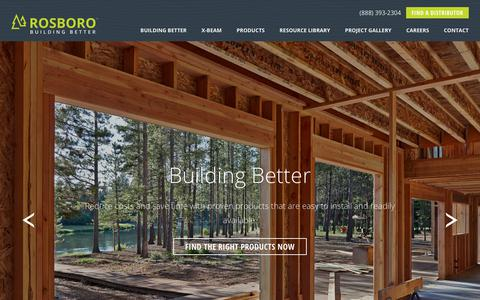 Screenshot of Home Page rosboro.com - Rosboro - Building Better Engineered Wood Products - captured Sept. 21, 2018