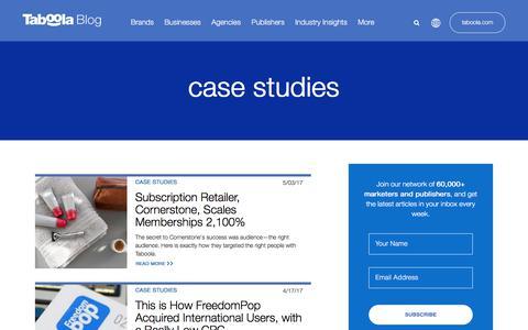 Screenshot of Case Studies Page taboola.com - case studies Archives - Taboola Blog - captured April 13, 2018