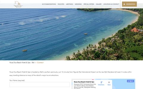 Screenshot of Contact Page nusaduahotel.com - Contact - Nusa Dua Beach Hotel & Spa, Bali - captured Dec. 12, 2018