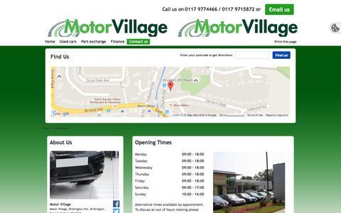 Screenshot of Contact Page motorvillage-bristol.co.uk - Contact Us | Motor Village - captured Jan. 12, 2016