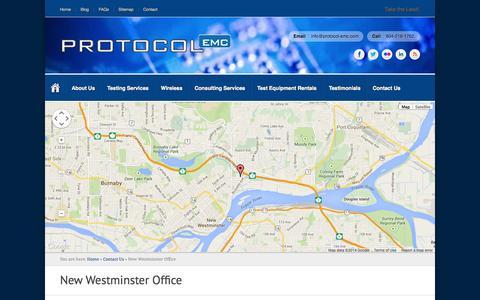 Screenshot of Maps & Directions Page protocol-emc.com - New Westminster Office | Protocol EMC - captured Sept. 30, 2014