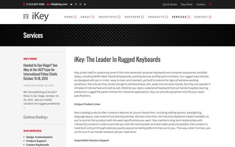 Screenshot of Services Page ikey.com - iKey Rugged Keyboard and Accessory Services - captured Nov. 26, 2016