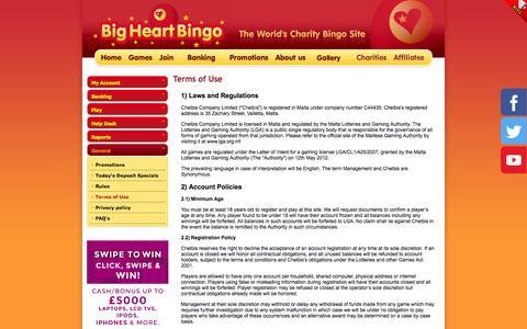 Screenshot of Terms Page bigheartbingo.co.uk - Big Heart Bingo - Play to Win Bingo - Play for Charities!. Get 15 Free Cash - captured Oct. 5, 2014