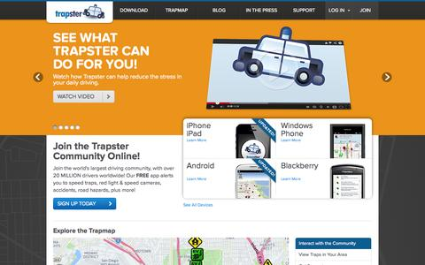 Screenshot of Home Page trapster.com - Speed Trap & Road Hazard Sharing System. - captured Sept. 17, 2014