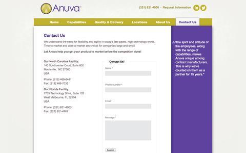 Screenshot of Contact Page anuva.com - Contact Us | Anuva - captured Sept. 30, 2014
