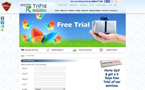Screenshot of Trial Page trifidresearch.com - Stock Market Challenge - Free Trial - captured Oct. 10, 2014