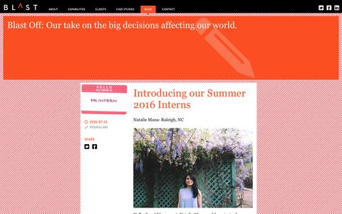 Screenshot of Blog blastpr.com - Blog - Blast PR - captured July 29, 2016