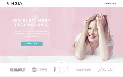 Screenshot of Home Page ringly.com - RINGLY | Smart Jewelry and Accessories - captured Sept. 24, 2014