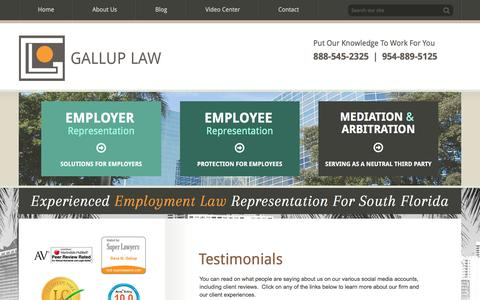 Screenshot of Testimonials Page gallup-law.com - Testimonials | Gallup Law | Miami, Florida - captured July 11, 2016