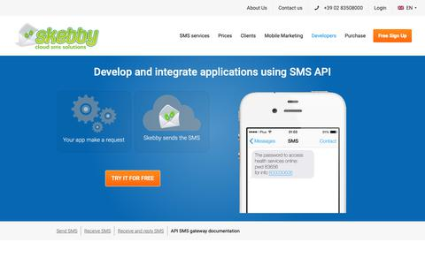 Screenshot of Developers Page skebby.com - SMS API - easy integration of SMS gateway software with web server or applications for internet text messaging - captured Oct. 19, 2018