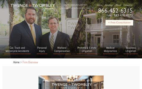 Screenshot of About Page twlawfirm.com - South Carolina Injury Law Firm Overview : Twenge + Twombley - captured July 2, 2018