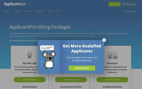 Screenshot of Pricing Page applicantpro.com - Pricing | ApplicantPro - captured Sept. 20, 2018