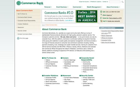 Screenshot of About Page commercebank.com - About Commerce Bank | Commerce Bank - captured Sept. 18, 2014