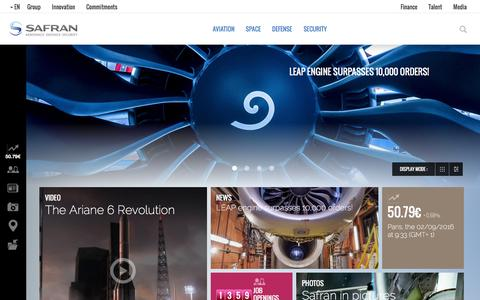 Screenshot of Home Page safran-group.com - Safran is a leading international high-technology group. - captured Feb. 9, 2016