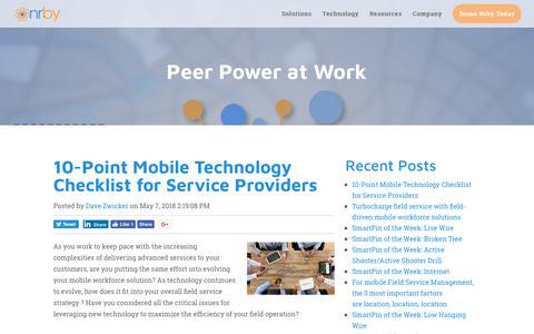 Screenshot of Blog nrby.com - Peer Power at Work - Nrby's Mobile Collaboration Blog - captured July 7, 2018