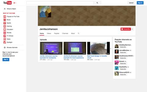 Screenshot of YouTube Page youtube.com - JenikeJohanson  - YouTube - captured Oct. 22, 2014