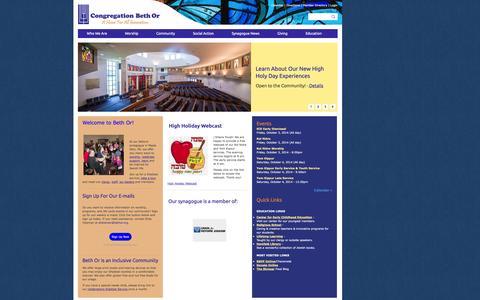Screenshot of Home Page bethor.org - Congregation Beth Or - captured Oct. 3, 2014