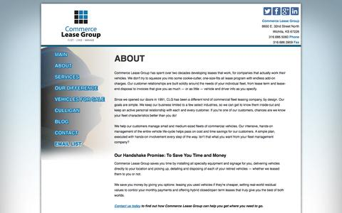 Screenshot of About Page commerceleasegroup.com - About Commerce Lease Group Fleet Leasing - captured Sept. 30, 2014