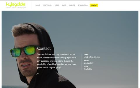 Screenshot of Contact Page kylegoldie.com - Kyle Goldie - Fashion Photographer, Swimwear Photographer - captured Oct. 6, 2014