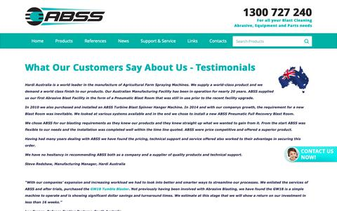 Screenshot of Testimonials Page abss.net.au - Customer Reviews, Abrasive Blasting Service and Supplies - captured Oct. 2, 2018