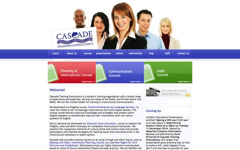 Screenshot of Home Page cascadetrainingconsultancy.com - Cascade Training Consultancy Ireland - Educational Courses on Communication,Law, Management - captured Jan. 26, 2015