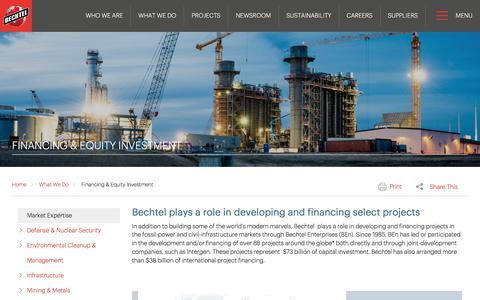 Development, Financing & Equity Investment - Bechtel