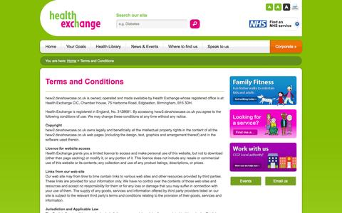 Screenshot of Terms Page healthexchange.org.uk - Terms and Conditions   Health Exchange - captured Oct. 2, 2014