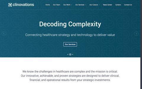 Screenshot of Home Page clinovations.com - Clinovations - captured Sept. 30, 2014