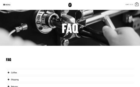 Screenshot of FAQ Page riseupcoffee.com - FAQ - Rise Up Coffee Roasters - captured Sept. 21, 2018