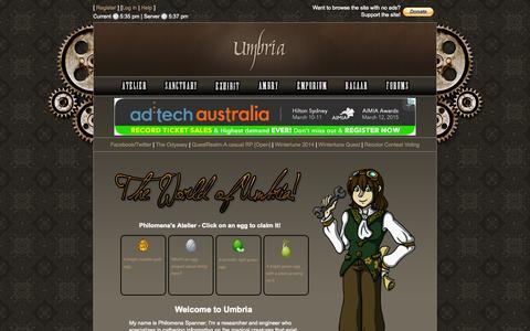 Screenshot of Home Page worldofumbria.net - World of Umbria | Atelier - captured Feb. 6, 2015