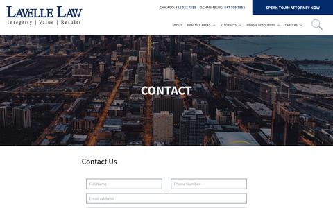 Screenshot of Contact Page lavellelaw.com - Contact | Lavelle Law | Chicago & Schaumburg, IL Law Firm - captured Oct. 27, 2018