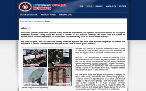 Screenshot of About Page broadcastsystemsintegration.com - About « Broadcast Systems Integration - captured Sept. 30, 2014