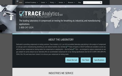 Screenshot of Home Page airchecklab.com - Home - Compressed Air Testing - Trace Analytics - captured Sept. 28, 2018